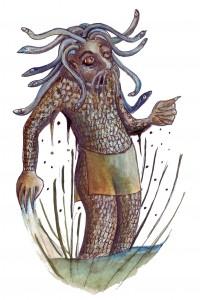 Umor, Schlangentroll vom Plagefenn Zeichnung: Petra Elsner