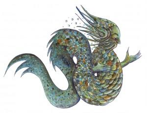 Flussgott Dellwog Zeichnung: Petra Elsner