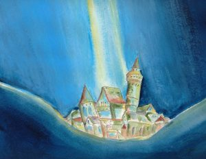 Die versunkene Stadt im Werbellinsee. Zeichnung: Petra Elsner