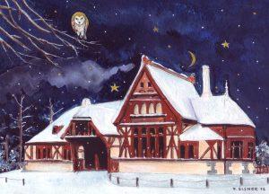Kaiserbahnhof Joachimsthal. Zeichnung von Petra Elsner