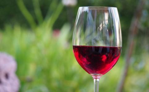 Ein Glas Rotwein vor grünem Hintergrund