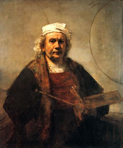 Rembrandt, Zelfportret met twee cirkels, 1665-1669, olieverf op doek, 114.3 x 94 cm, Kenwood House, Hampstead, Londen