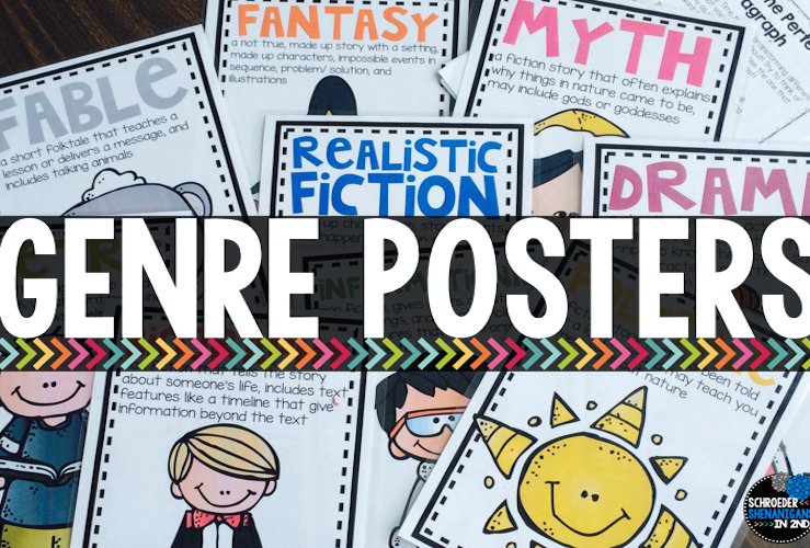 genre posters and anchor charts for students to use and interactive notebooks for genre