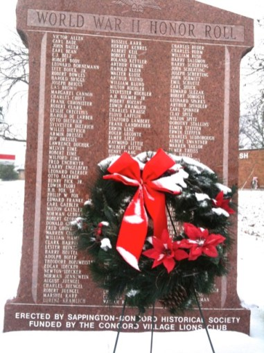 Holiday wreath placed at Honor Roll monument at Sappington-Concord Memorial Park.
