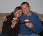 Tammy and Joe posing with their Cakeway cupcakes.