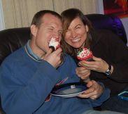 Joe chopping into his Cakeway cupcake.