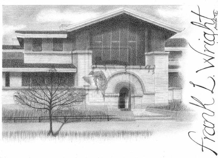 Dana-Thomas house by Frank Lloyd Wright in Springfield, Illinois. Drawing by AmandaCCardoso