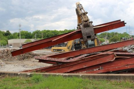 Stacking the I-beams for recycling
