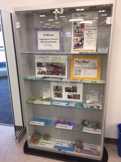 Display case at Oak Bend library, March, 2017.