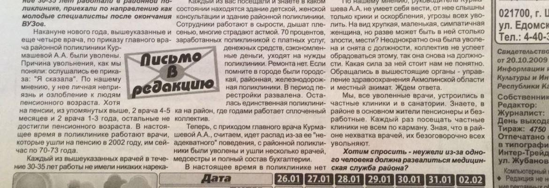 """Открытое письмо врачей Щучинска в газету """"Луч"""""""
