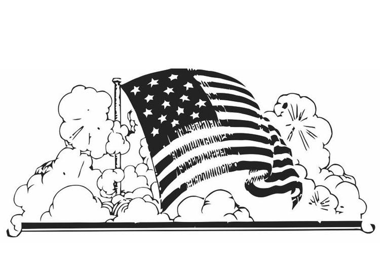 Malvorlage Amerikanische Fahne Ausmalbild 19846