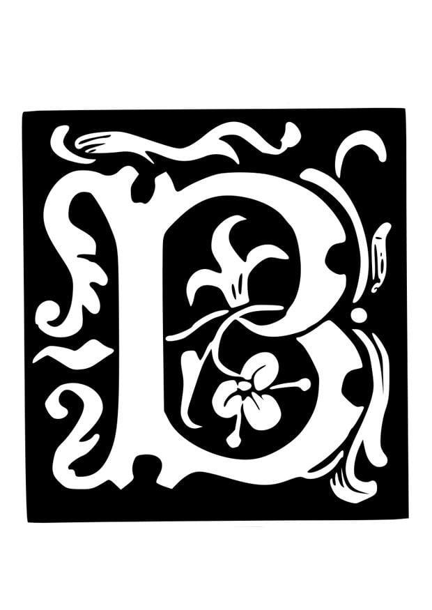 Malvorlage Dekorativer Buchstabe B Ausmalbild 19027