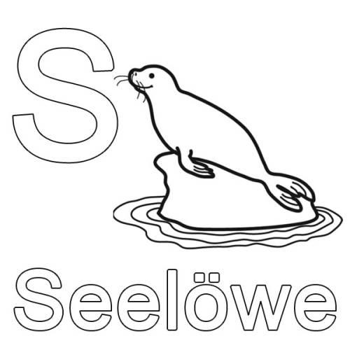 Kostenlose Malvorlage Buchstaben Lernen S Wie Seelwe Zum
