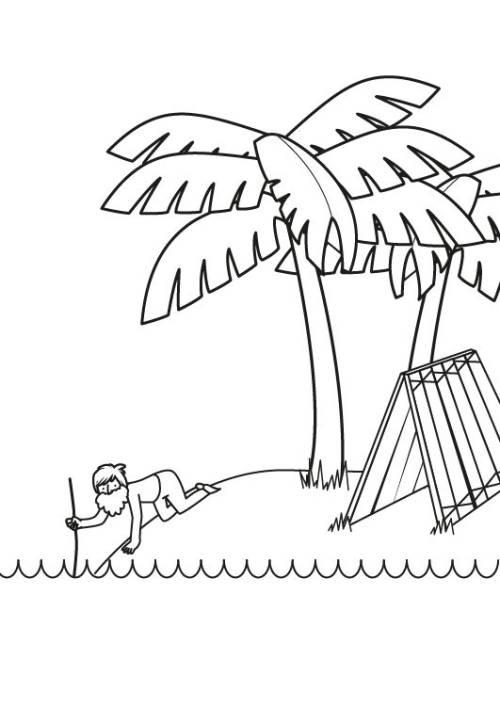 Kostenlose Malvorlage Mrchen Robinson Crusoe Zum