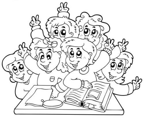 Kostenlose Malvorlage Schule Grundschulklasse Zum