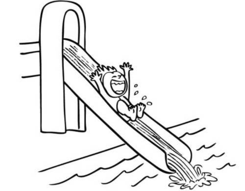 Kostenlose Malvorlage Sommer Kind Auf Der Wasserrutsche