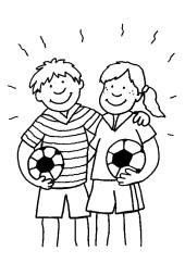 Sport Junge Und Mdchen Mit Fubllen Zum Ausmalen