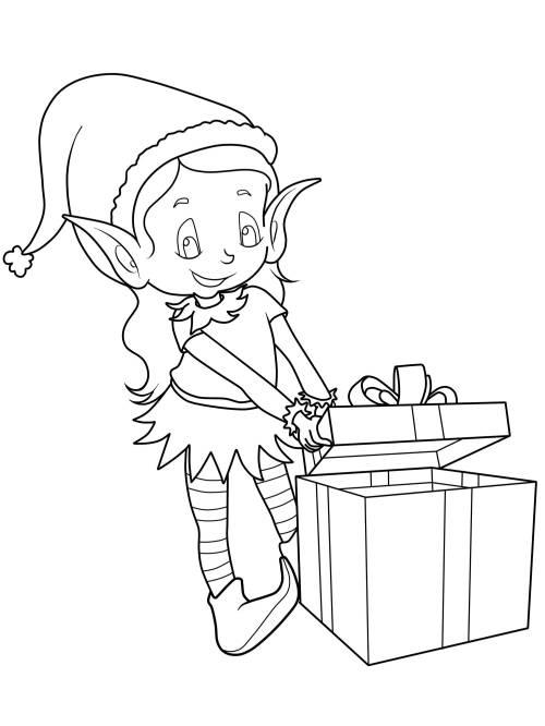 Kostenlose Malvorlage Weihnachten Elf Mit