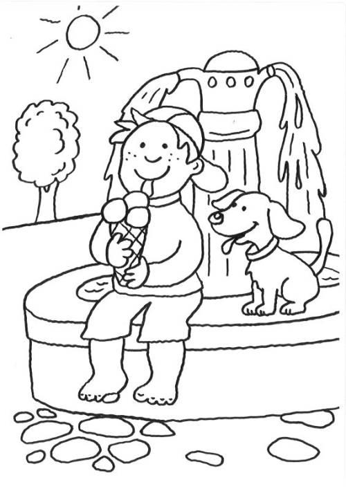 Kostenlose Malvorlage Hunde Hund Und Junge Beim Eisessen