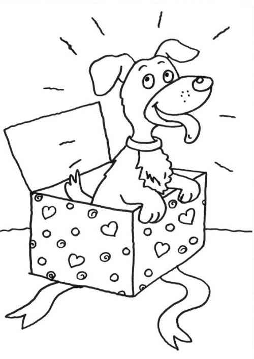 Kostenlose Malvorlage Hunde Hund Im Geschenk Zum Ausmalen