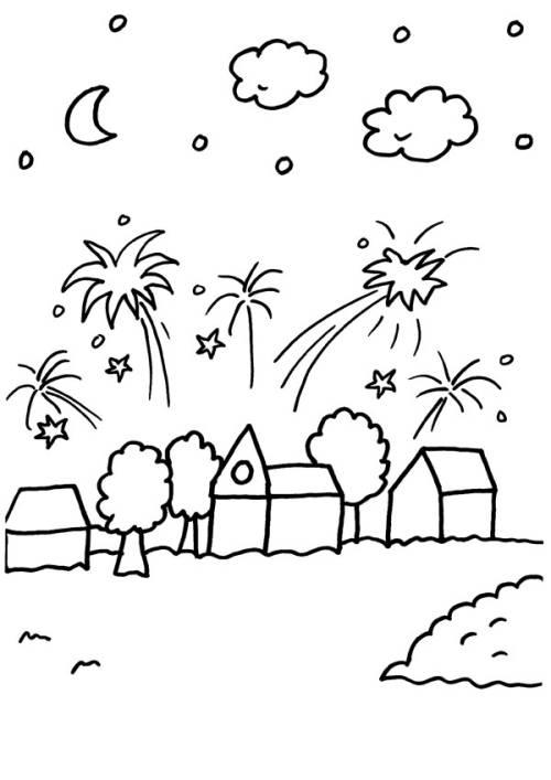 Kostenlose Malvorlage Silvester Silvester Feuerwerk Ber