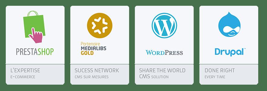 création de site web à rennes, logo cms, Prestashop, Medialibs, Wordpress, Drupal