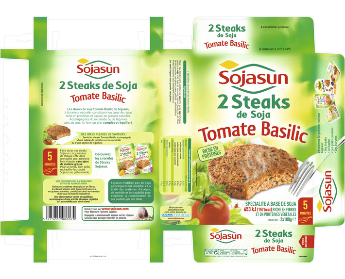 agence de communication à caen; packaging Sojasun 2 steaks