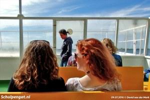 Passagiers op het voordek