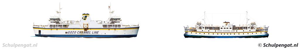 Zijaanzicht Gozo-veerboot nieuw en oud