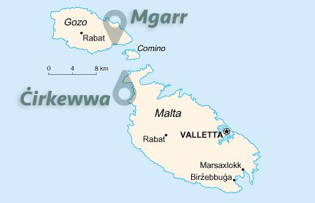 Kaart van de veerdienst Malta-Gozo