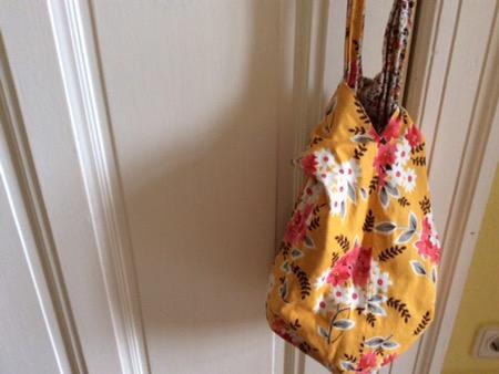 Japanische Knotentasche mit Paspel selber nähen