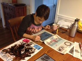 Maggie Mills creating etching plates for the Native Pollinator Garden