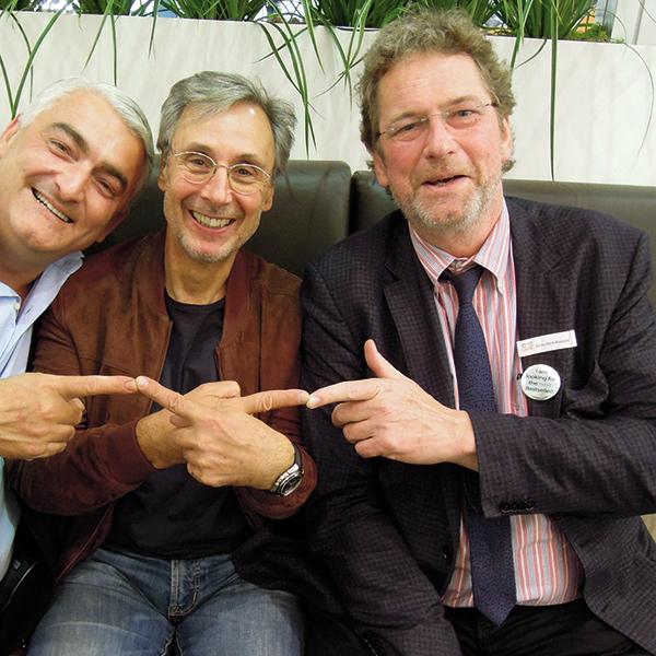 (v.r.n.l.:) Bodo Horn-Rumold mit Klaus Baumgart und Ossi Hejlek