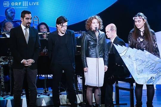 Auf der Bühne der Gala zum Nestroypreis 2015