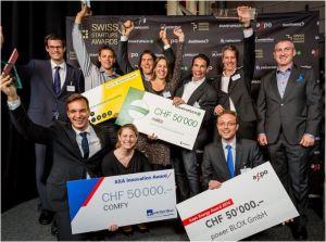 Die Gewinner der Swiss Startups Awards 2014 in Zürich mit Nexus-CEO Michele Blasucci (r.). Bild: www.swiss-startups-awards.ch