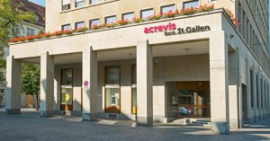 Der Hauptsitz der Acrevis Bank AG in St. Gallen. Bild: www.acrevis.ch