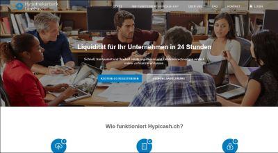 hypicash.ch, die Online-Factoring-Plattform der Hypothekarbank Lenzburg.