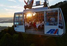 Die Luftseilbahn bietet Raum für Dinners.