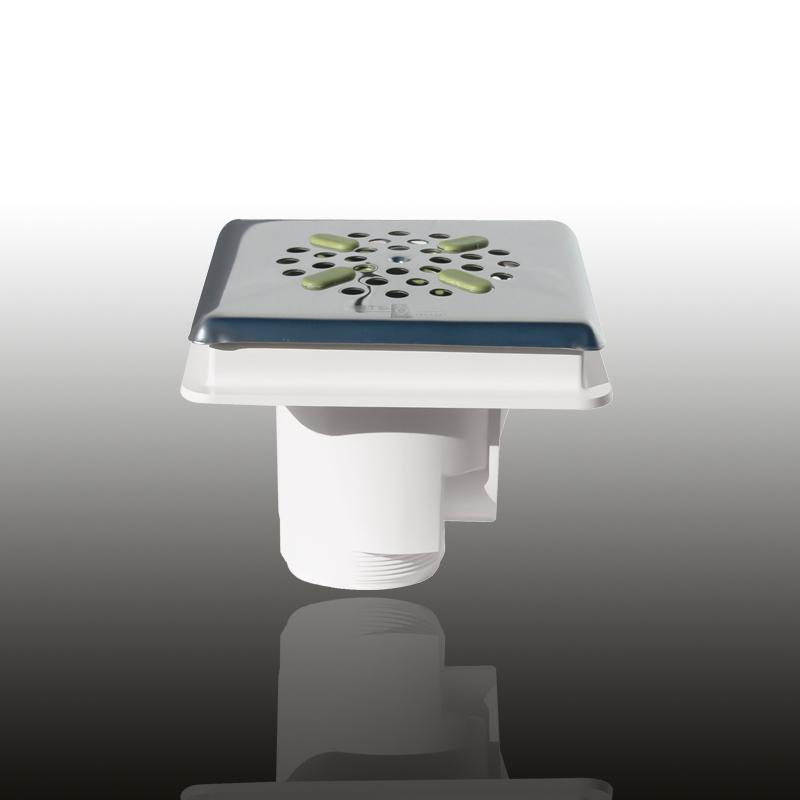 Bodenablauf: ABS Kunststoff Signalweiß eckig / Blende: V4A / Art.Nr.: 43241 Image