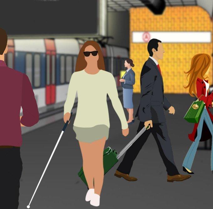 Mulher cega andando