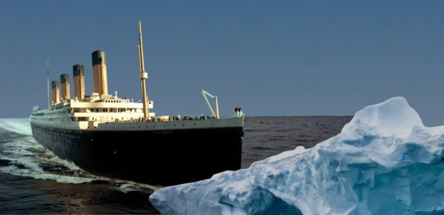 Image result for images of the titanic hitting an iceberg