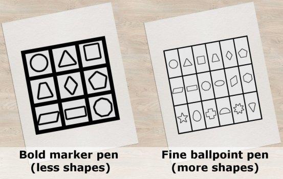Caneta esferográfica com letras menores, formas inferiores, caneta esferográfica fina, mais formas