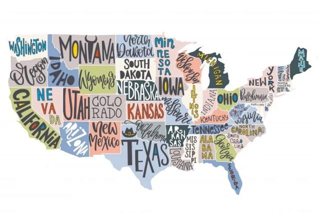Mapa dos EUA com Estados - cartaz geográfico pictórico da América, mão desenhada rotulação projeto para decoração de parede, guia de viagem, imprimir.  Ilustração do vetor de tipografia criativa original.  - Vetor (KateChe) S