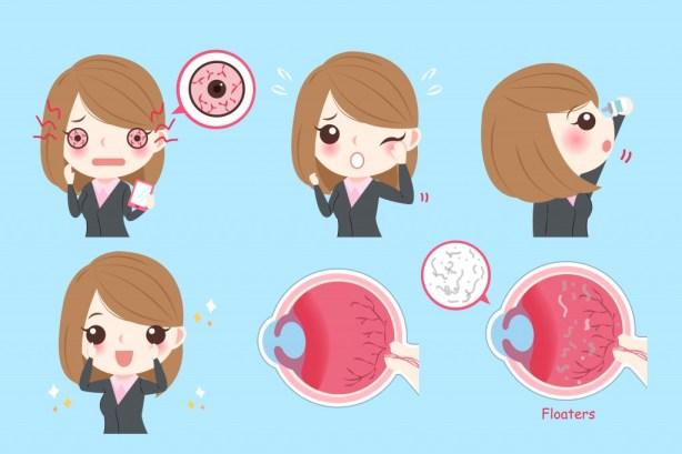 empresária de desenhos animados com problema ocular em fundo verde (EstherQueen999) s