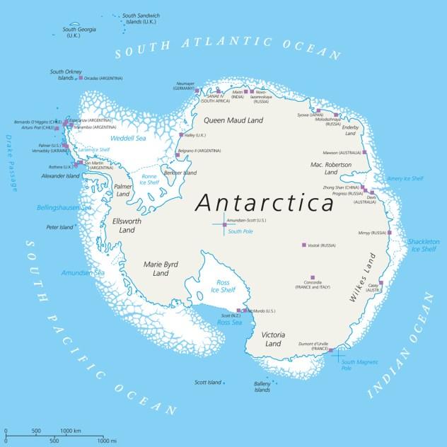 Mapa político da Antártica com pólo sul, estações de pesquisa científica e plataformas de gelo (Peter Hermes Furian)
