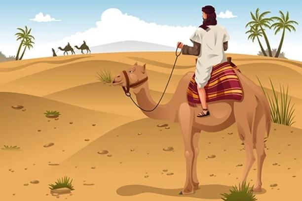 Uma ilustração em vetor de árabes montando camelos no deserto (Artisticco) s
