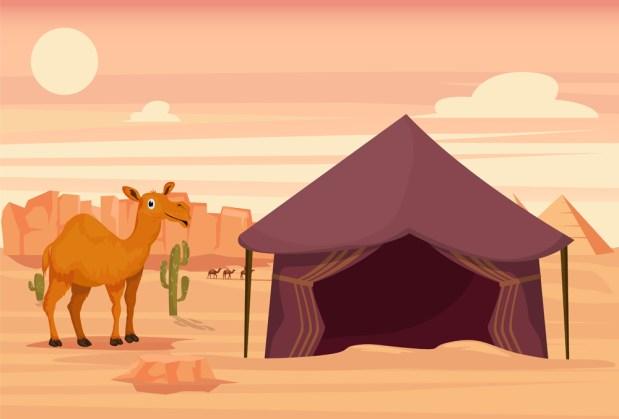 Camelo e barraca no deserto (Eduard Radu) s