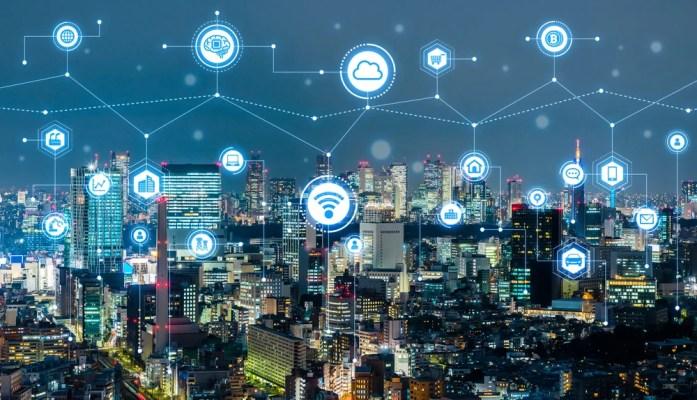 Conceito de cidade inteligente.  IoT (Internet das Coisas) (metamorworks) s