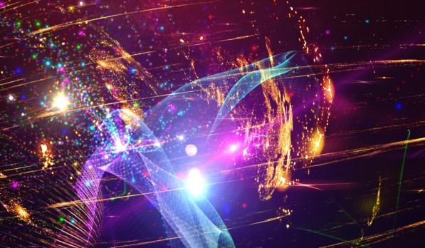 Espetacular ilustração multicolorida com partículas e raios (Serg-DAV) s
