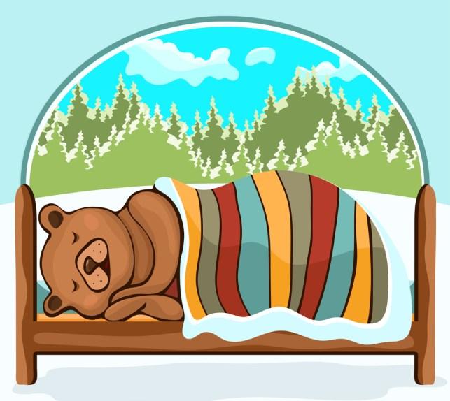 Urso na mão de hibernação, desenho, personagem de desenho animado (Evgeniya Chertova) S